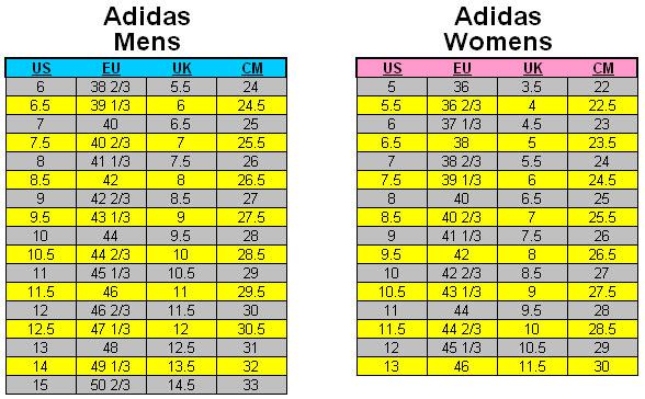 Adidas Shoe Size Chart Adidas Shoe Size Chart