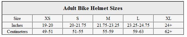 Adult bike helmet sizes