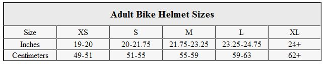 Adult bike helmet sizes