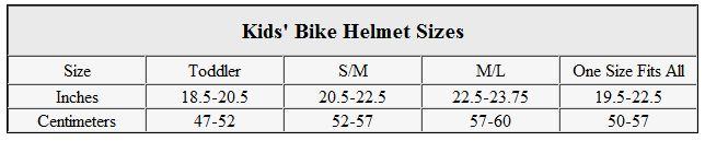 Kids' bike helmet sizes