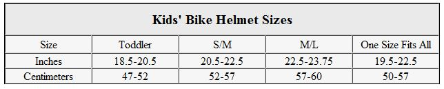 Kids' bike helmet sizes