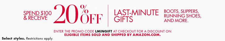 美国亚马逊Amazon促销活动:鞋包类满$100打8折,折扣码LMINGIFT