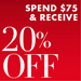 Spend $75 and receive 20% off clothing