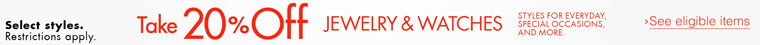 20% Off Jewelry and Watches