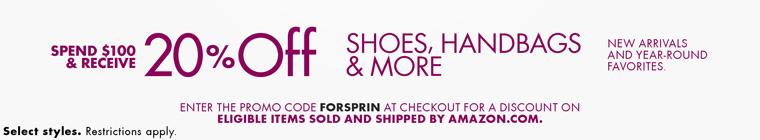 美国亚马逊:鞋子、手包类产品,满100美金八折特惠