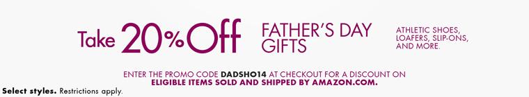 美国亚马逊:父亲节特惠,男士鞋类产品八折特惠