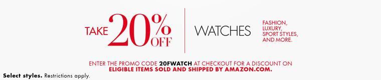美亚促销:手表无限制金额8折,限用一次,至11月18日下午4点左右