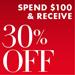 30% Off $100 Cyber Monday Week Deals