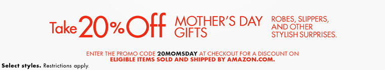 Take 20% Off Mother's Day Gifts Promo Code 20MOMSDAY
