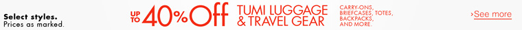 Up to 40% Off Tumi Luggage & Travel Gear
