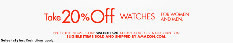 美亚:Amazon最新优惠码 手表额外8折
