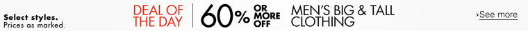 Today Only |  60% or More Off Men's Big and Tall Clothing
