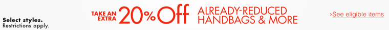 Take 20% Off Already-Reduced Handbags, Shoes & More