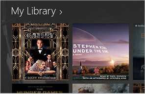 An audiobook downloading onto the Audible app's library