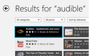 The Audible app available for download on the Windows Phone Store
