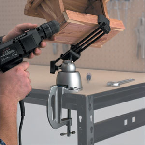 Woodworking using the 396 wide opening PanaVise and a bench clamp base mount