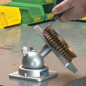 Cleaning a flywheel using the PanaVise 400 heavy duty base and PanaVise heavy duty head