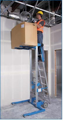 Genie GL-8 Material Lift with Ladder Lifestyle Shot