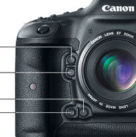 Canon EOS-1D X Front Controls at Canon EOS-1D X 18.1MP Digital SLR Camera