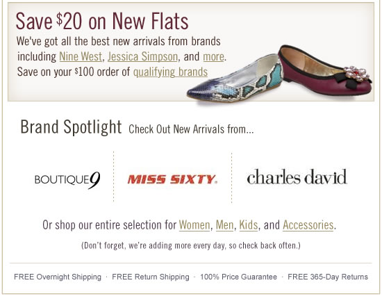 $20 Off $100 Orders on New Flats, Nine West, Jessica Simpson & More Contentb072709