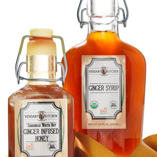 Verdant Kitchen ginger syrup and honey gift set