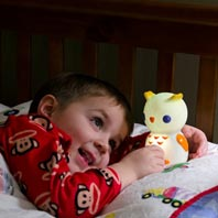 Battery power makes Night Owl mobile, meaning your child can curl up under the covers with him, or take Night Owl to the bathroom in the dark.