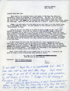 Julia's  letter to Avis after Houghton Mifflin rejected her cookbook