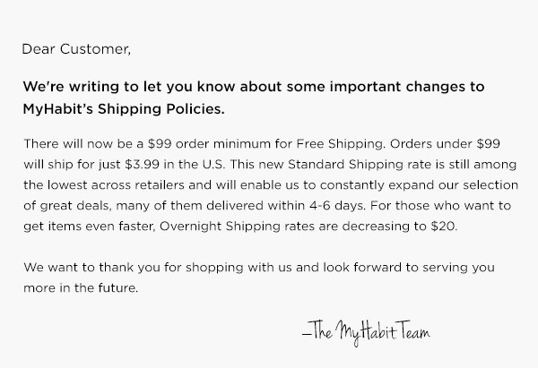 Changes to MyHabit's Shipping Policies