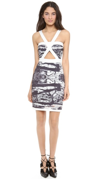 Angelys Balek Print Dress With Cutouts - Black Print at Shopbop / East Dane
