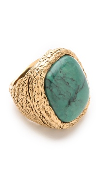 Aurelie Bidermann Miki Dora Rope Ring with Turquoise Stone