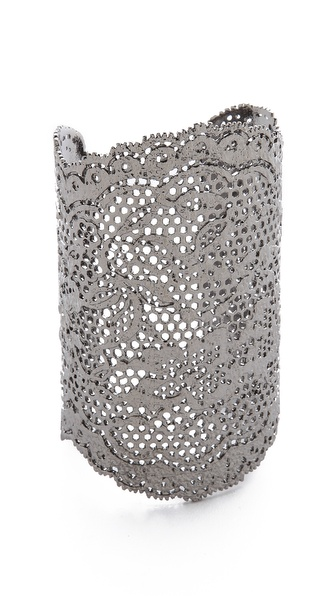 Aurelie Bidermann Vintage Lace Cuff - Black Silver at Shopbop / East Dane