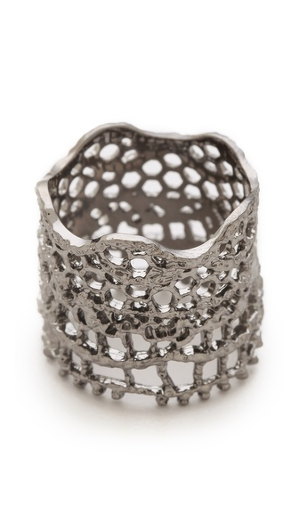 Aurelie Bidermann Vintage Lace Ring - Black Silver at Shopbop / East Dane