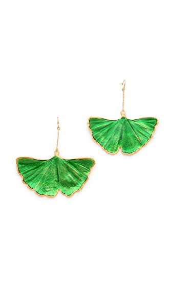 Aurelie Bidermann Ginko Leaf Earrings