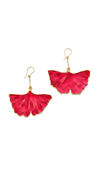 Aurelie Bidermann Ginkgo Leaf Earrings