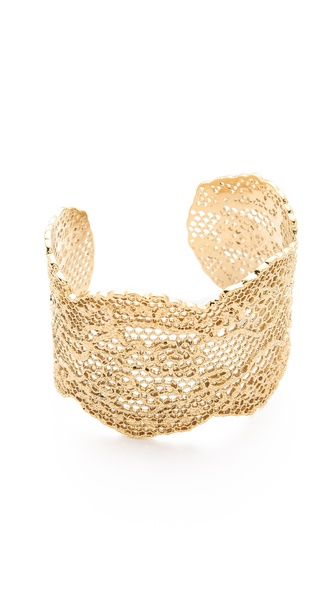Aurelie Bidermann Laser Cut Vintage Lace Cuff - Gold at Shopbop / East Dane