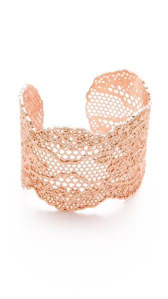 Aurelie Bidermann Laser Cut Vintage Lace Cuff - Rose Gold at Shopbop / East Dane