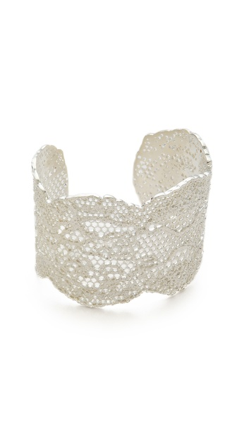 Aurelie Bidermann Laser Cut Vintage Lace Cuff - Silver at Shopbop / East Dane