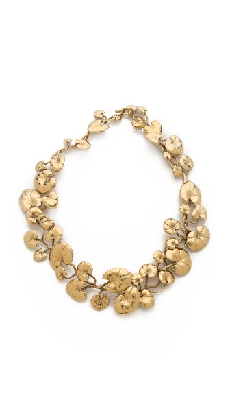 Aurelie Bidermann Nympheas Leaves Necklace - Gold at Shopbop / East Dane