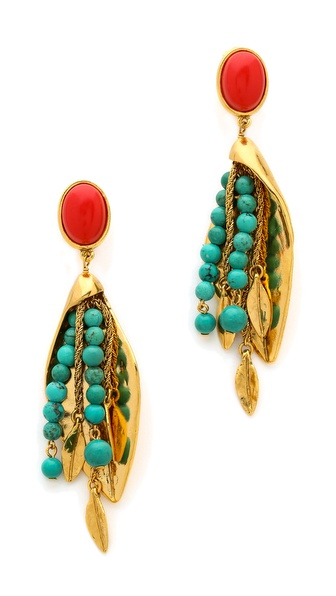 Aurelie Bidermann Clip On Earrings With Turqouise Stones - Gold
