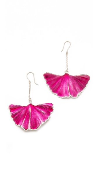Aurelie Bidermann Enameled Gingko Leaf Earrings