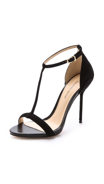 Alexandre Birman Suede T Strap Sandals - Black at Shopbop / East Dane