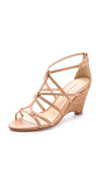 Alexandre Birman Woven Cork Wedge Sandals