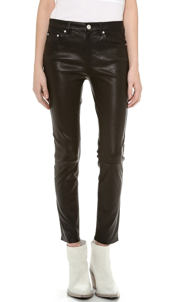 Acne Studios Skin 5 Pocket Leather Pants - Black at Shopbop / East Dane
