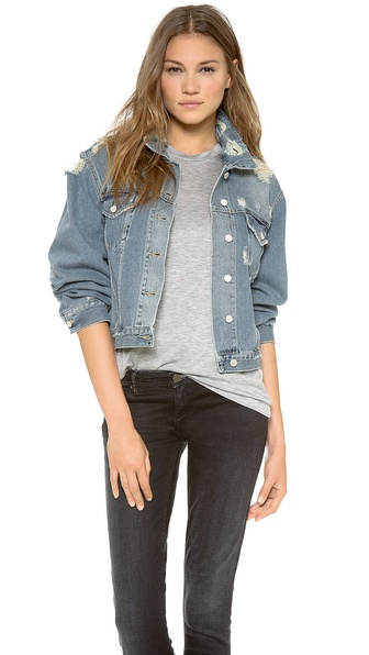 Acne Studios Tram Trashed Denim Jacket - Blue Denim at Shopbop / East Dane