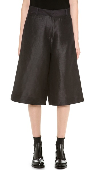 Acne Studios Kat S Shantung Trouser Shorts - Charcoal at Shopbop / East Dane