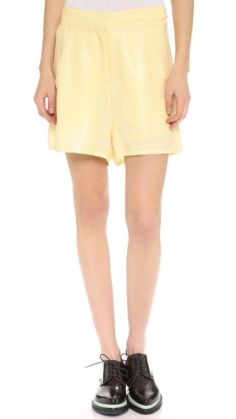 Acne Studios Tine Paillette Embellished Shorts - Yellow at Shopbop / East Dane