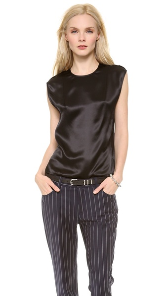 Acne Studios Rasa Satin Blouse - Black at Shopbop / East Dane