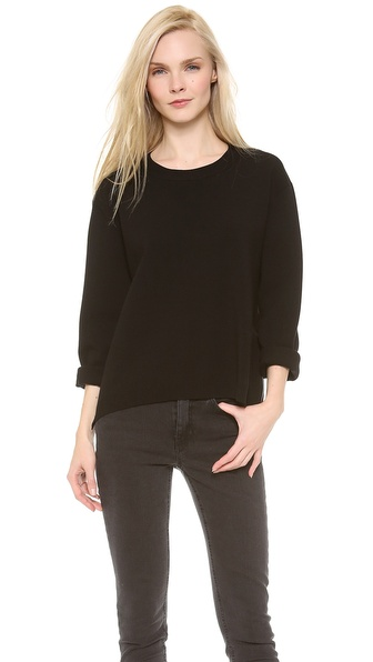 Acne Studios Misty Boiled Zipper Sweater - Black at Shopbop / East Dane