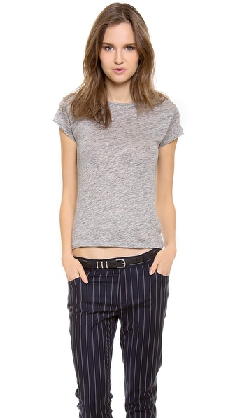 Acne Studios Copy Linen Cap Sleeve T-Shirt - Grey Melange at Shopbop / East Dane