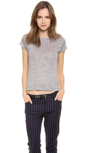 Acne Studios Copy Linen Cap Sleeve T-Shirt - Grey Melange at Shopbop / East Dane